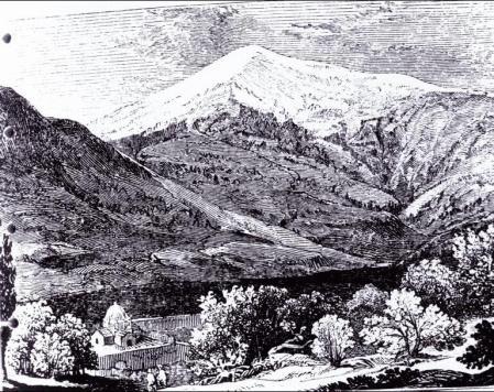Püha Jakobi klooster Arghuris ja Ararati mägi 1829 a. Friedrich Parroti joonis.