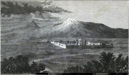 """""""View of Ararat and the Monastery Echmiadzin"""" from Friedrich Parrot`s book """"Journey to Ararat"""", New York, 1846"""
